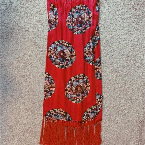 Vintage Accessories - Silk Red Scarf